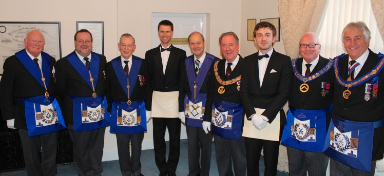 Our latest members along with the Assistant Grand Master, Provincial Grand Master and other Grand Officers