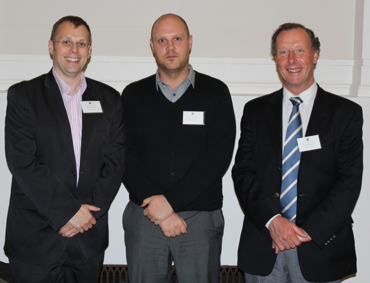 The Wyggeston Lodge Universities' Scheme Subcommittee at the Universities' Scheme Conference. Left to right: W.Bro. Andy Green, Bro. Jamie Mollart, W.Bro. Kelvin Johnson