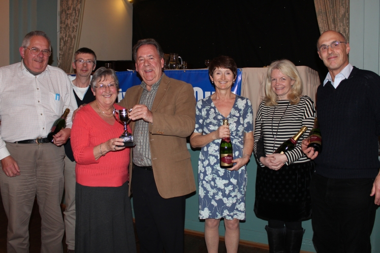 The Provincial Grand Master presents to Fun Quiz trophy to the winning team from The Wyggeston Lodge