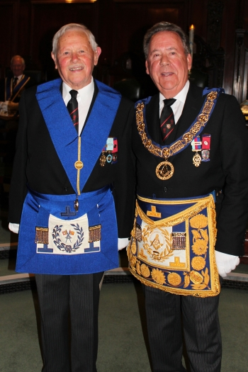 W.Bro. Douglas Ball (left) and the Provincial Grand Master (right)