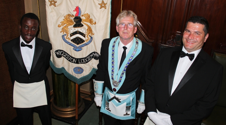Student Freemasons together with the Master of the Lodge
