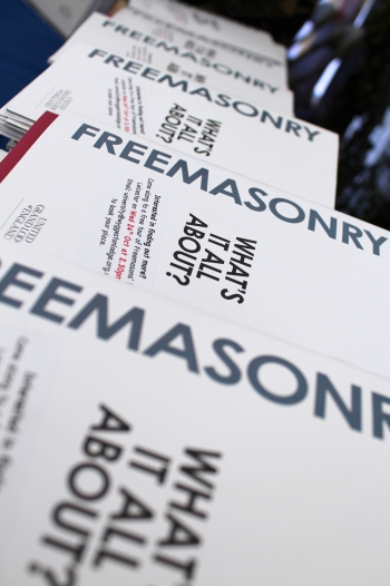 Freemasonry - What's It All About? booklets ready to be handed out
