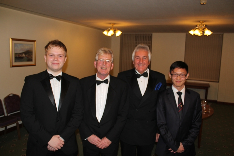 Left to right: Bro. Alex Pohl, W.Bro.Tom Bodycot (Master), W.Bro. Peter Kinder (APGM), Bro. Jeff Zhu