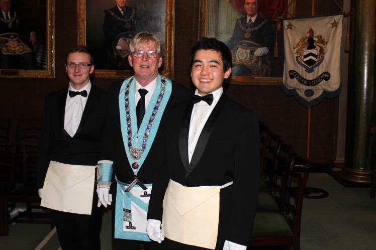 Left to right: Bro. Alec Maxfield, Master W.Bro. Tom Bodycot, Bro. Andrew Slater