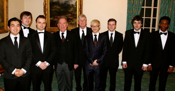 Some of our student members in the Wyggeston Lodge along with the Master and Provincial Grand Master