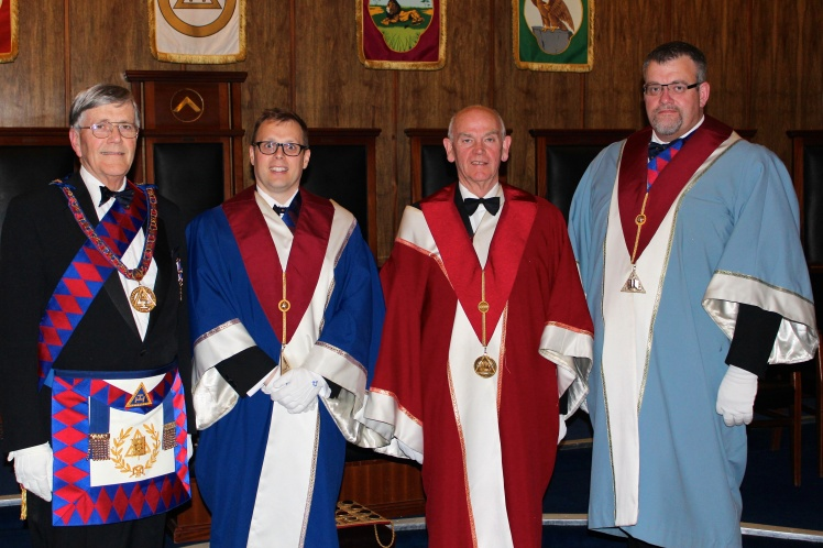 (left to right) The Second Provincial Grand Principal, E.Comp. John Townsend, the Second Principal, E.Comp. Andrew Green; the First Principal, E.Comp. Roger Peutrill and the Third Principal, E.Comp. Clive R. Watts.
