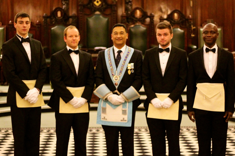 Left to right: Bro Matt Radoja, David Carter, Master - WBro Dipak Chauhan, Bro Henry Phillips and Bro Eric Akobeng