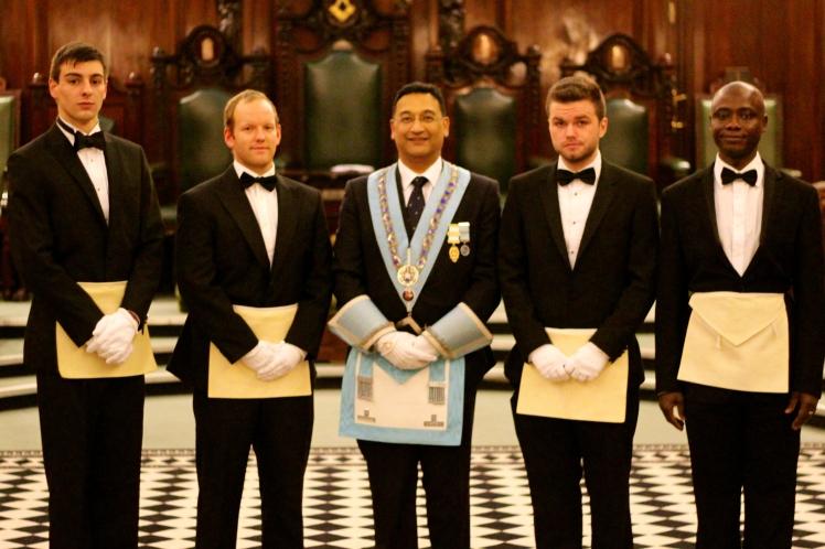 Left to right: Bro Matt Radoja, David Carter, Master - WBro Dipak Chauhan, Bro Henry Phillips and Bro Eric Akobeng