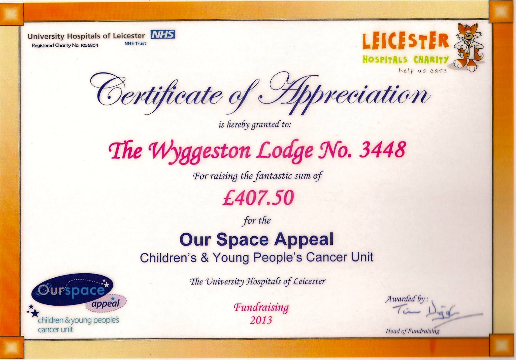 Certificate of appreciation from the our space appeal the certificate of appreciation from the our space appeal the wyggeston lodge yadclub Image collections
