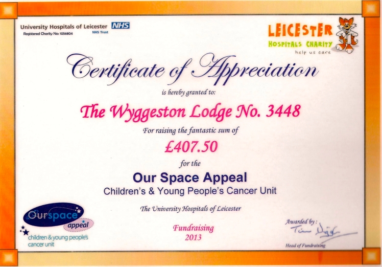 Certificate of Appreciation from the Our Space Appeal