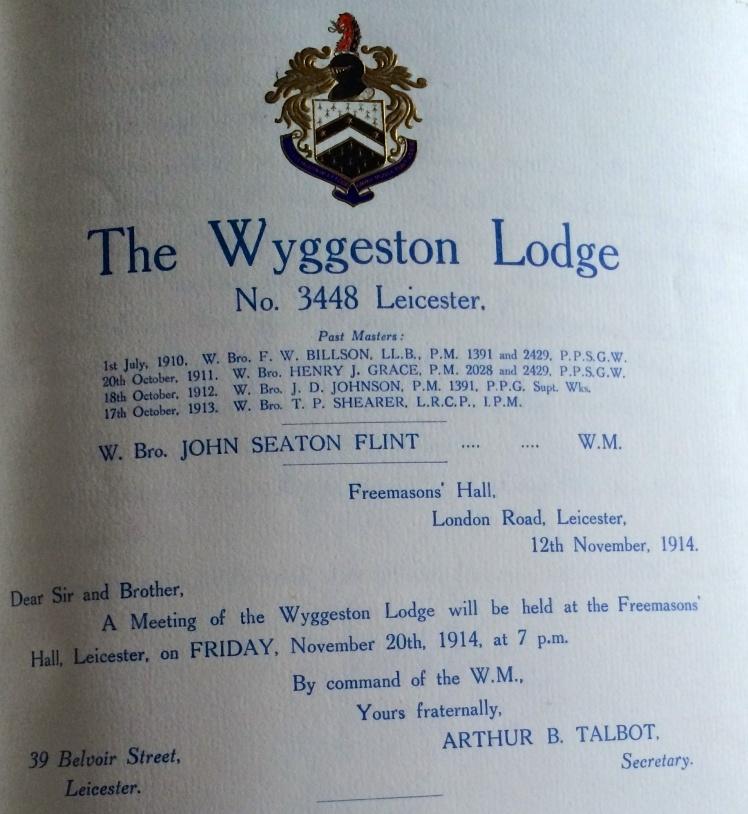 Wyggeston Lodge Summons for November 1914