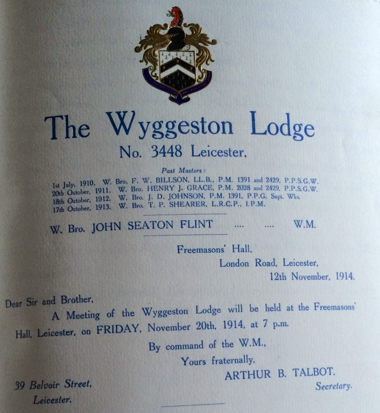 Wyggeston Lodge Summons for November 1914