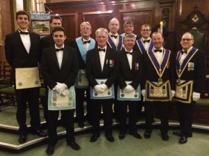 Members of Wyggeston Lodge visiting The Lodge of Welcome in  Leicester