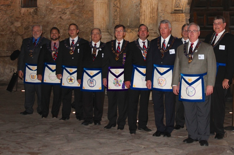The Grand Master of Texas along with his District Deputy Grand Masters outside the Alamo