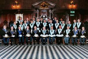 Active Lodge members in 2001 celebrating W.Bro. G.H. Moore's 60 years as a member of the Lodge