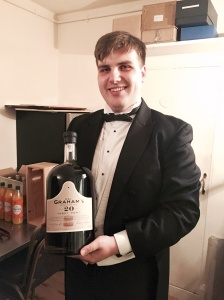 Bro Peter Clarke with the bottle of Port